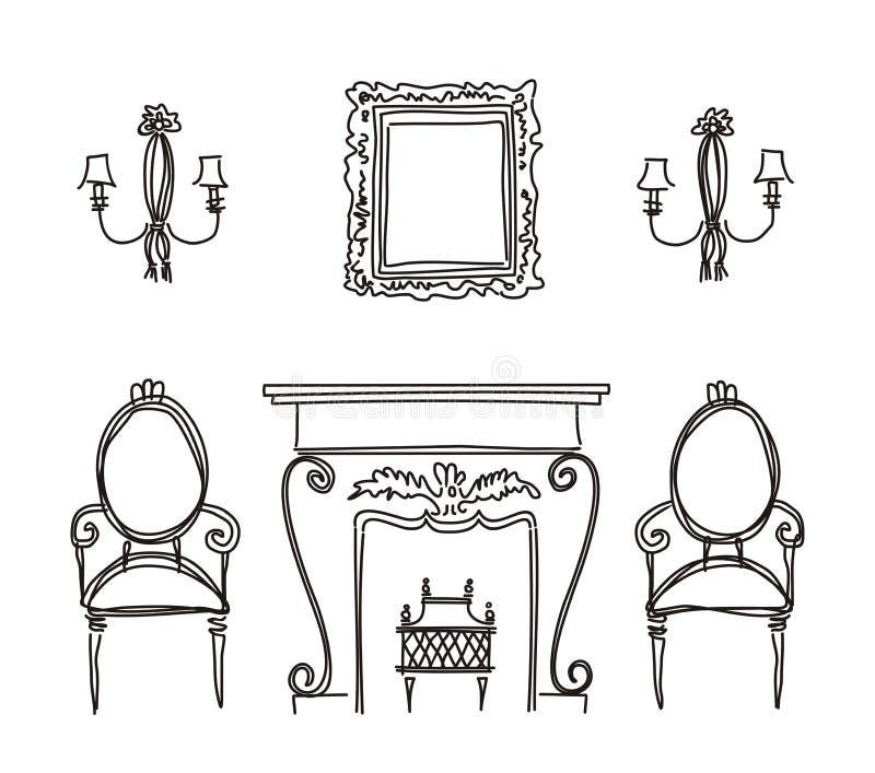 Ensemble de silhouettes de meubles de cru. illustration libre de droits