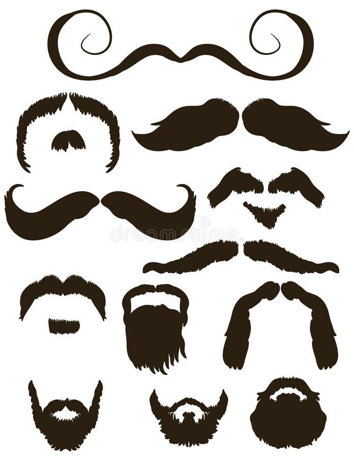 Ensemble de silhouettes de moustache et de barbe illustration stock