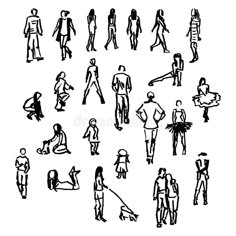 Ensemble de silhouettes de personnes de vecteur illustration stock