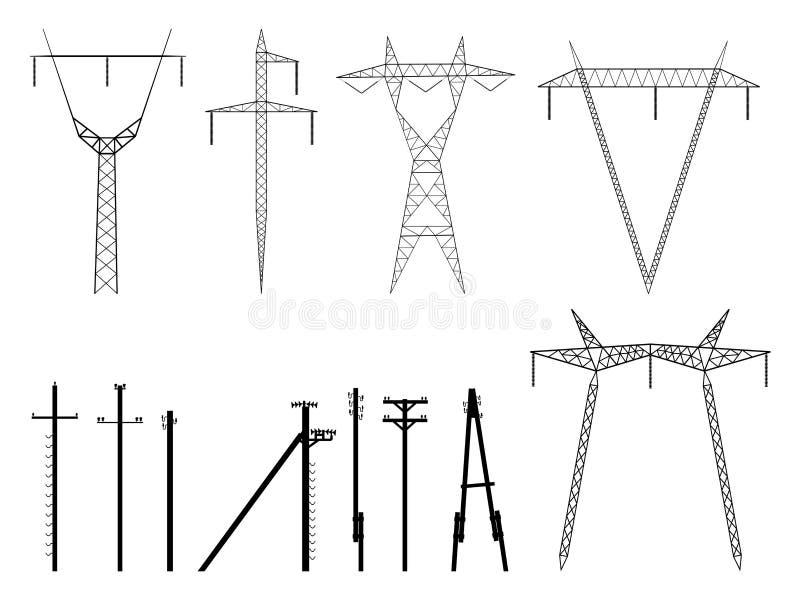 Ensemble de silhouettes de vecteur de ligne électrique de pylônes. illustration libre de droits