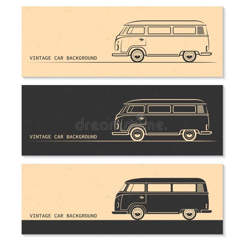 Ensemble de silhouettes de voiture de vintage Autobus, fourgon, chariot illustration de vecteur