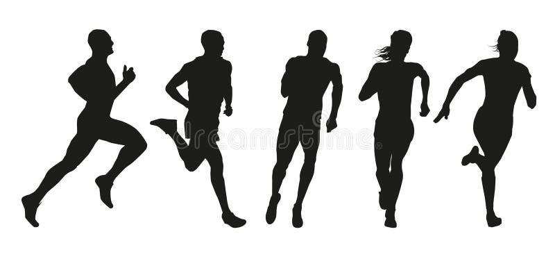 Ensemble de silhouettes des coureurs illustration de vecteur