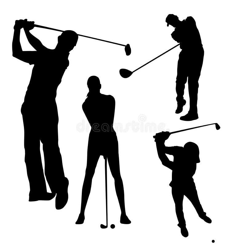 Ensemble de silhouettes des hommes qui joue au golf sur un fond blanc illustration libre de droits