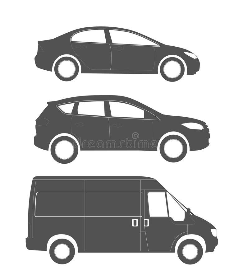 Ensemble de silhouettes des véhicules modernes illustration de vecteur