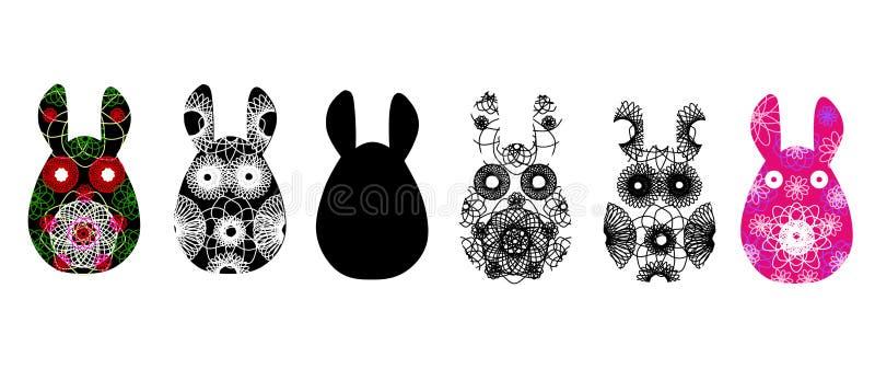 Ensemble de silhouettes de lapin avec un modèle abstrait contrasty Illustration de vecteur d'isolement sur le fond blanc Lapin pe illustration de vecteur