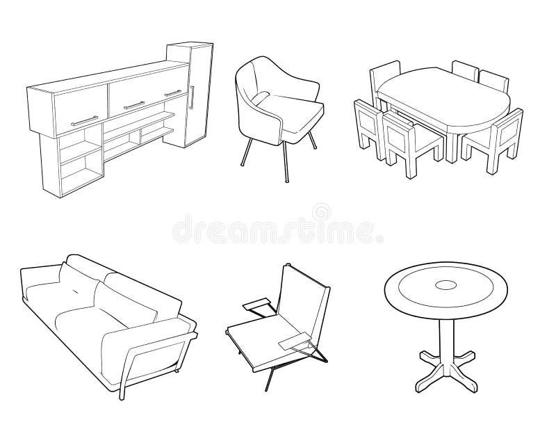 Ensemble de silhouettes de meubles illustration stock