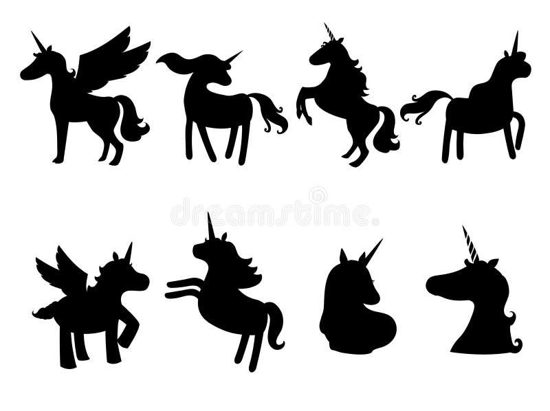 Ensemble de silhouettes mignonnes de licornes, icônes, vintage, fond, chevaux, tatouage, tiré par la main, contour, noir sur le b illustration libre de droits
