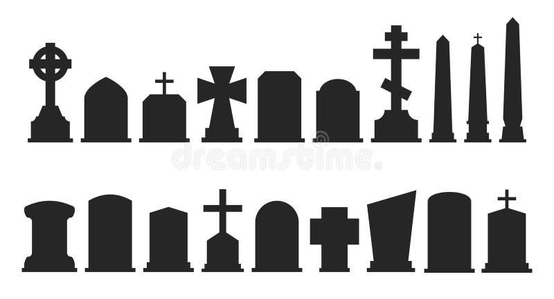 Ensemble de silhouettes de pierre tombale d'isolement sur le fond blanc Illustration de vecteur illustration de vecteur