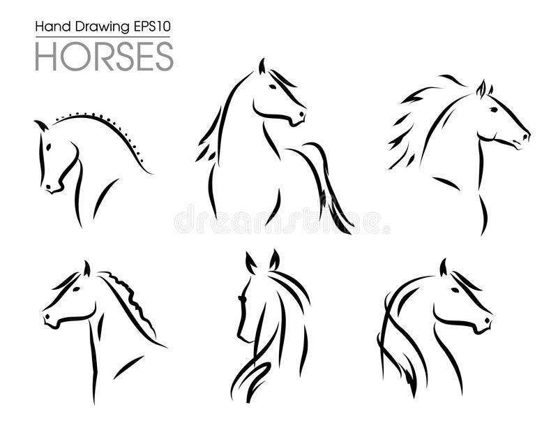 Ensemble de silhouettes tirées par la main de chevaux de vecteur illustration de vecteur