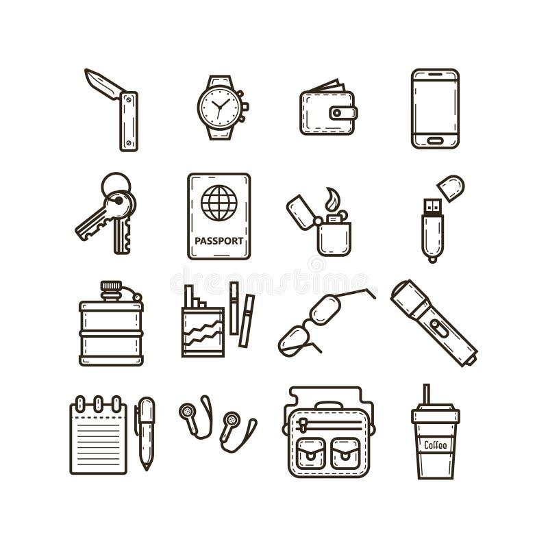 Ensemble de simple vecteur icônes de schéma pour que les choses quotidiennes de soin emploient illustration libre de droits