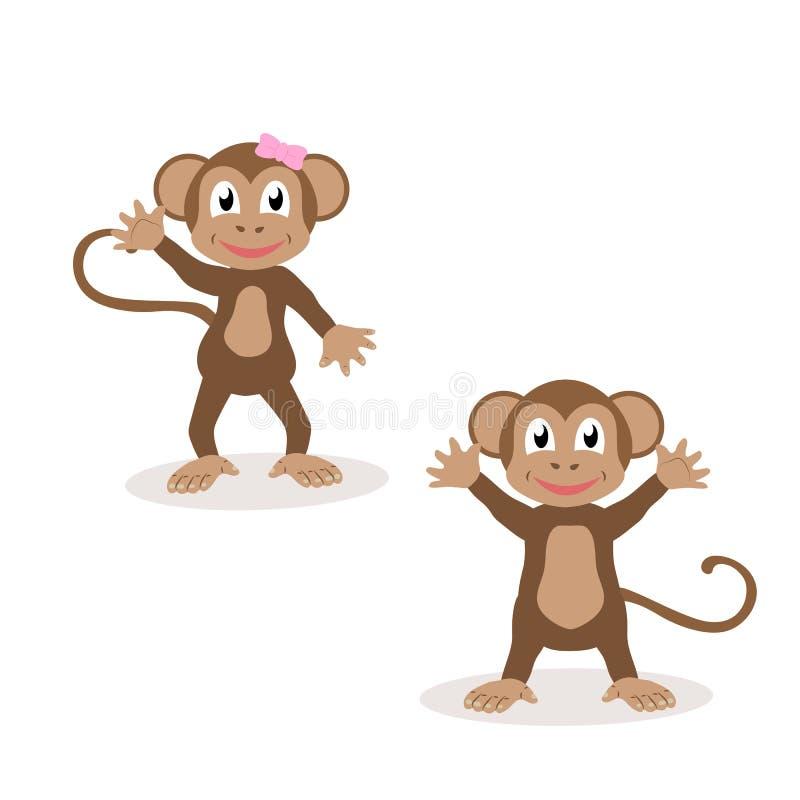 Ensemble de singes amicaux d'isolement Le symbole de l'année 2016 illustration de vecteur