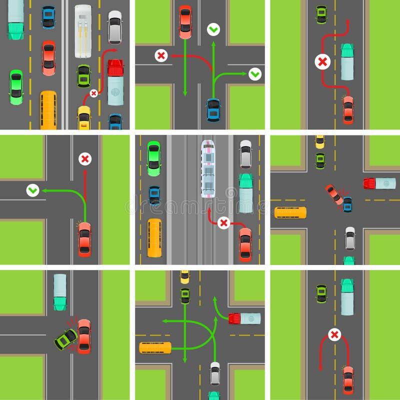 Ensemble de situations sur la route Les lois du trafic régissent illustration de vecteur