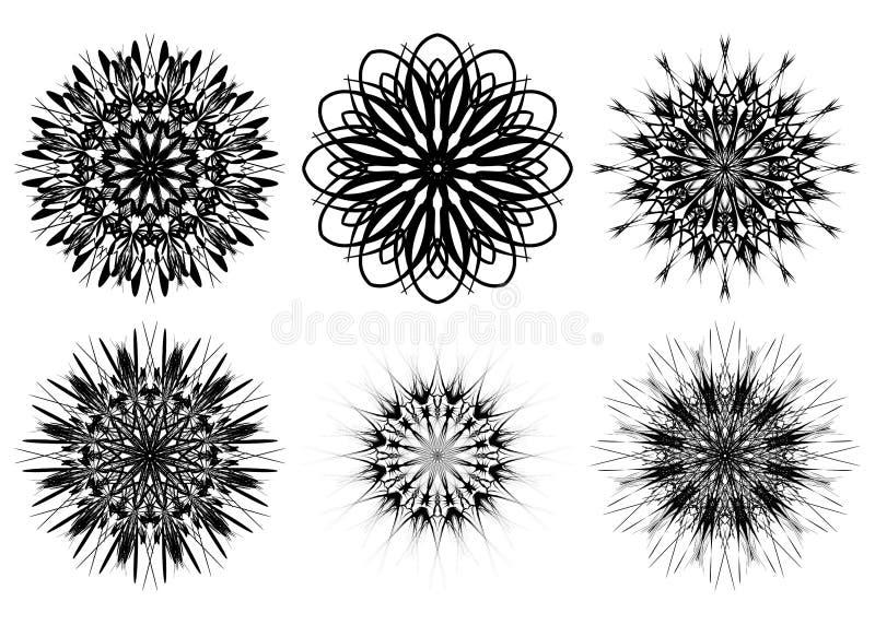 Ensemble de six formes de spirograph Éléments de web design d'isolement sur le fond blanc Contour noir et blanc Fleurs et flocons illustration stock