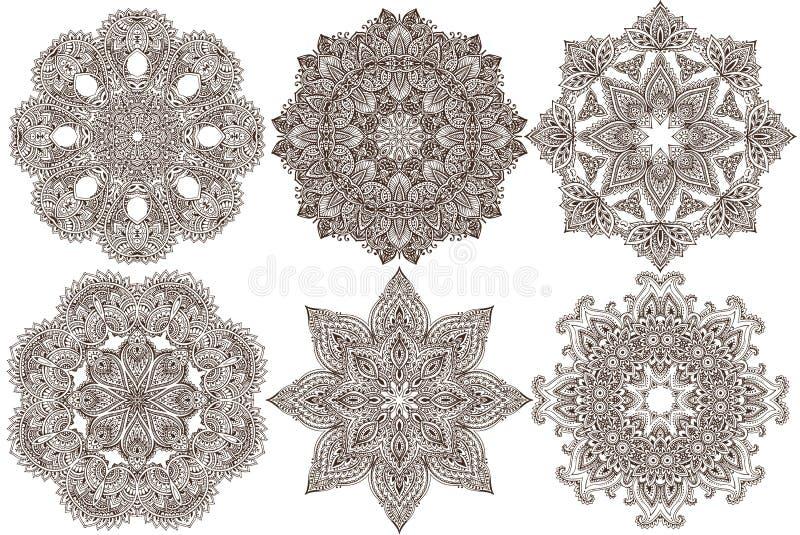 Ensemble de six mandalas ronds de conception de dentelle de vecteur abstrait illustration stock
