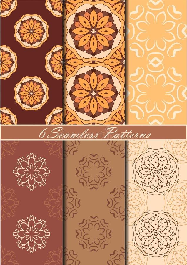 Ensemble de six modèles sans couture avec des mandalas dans le beau chocolat et des couleurs beiges Fond de vecteur illustration de vecteur