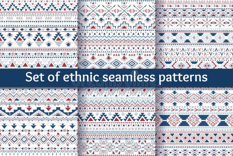 Ensemble de six modèles sans couture ethniques illustration de vecteur