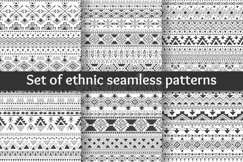 Ensemble de six modèles sans couture ethniques illustration libre de droits