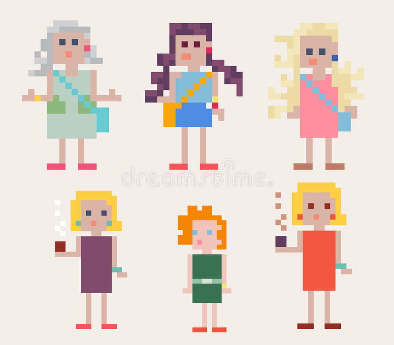 Ensemble de six personnes féminines de pixel illustration libre de droits