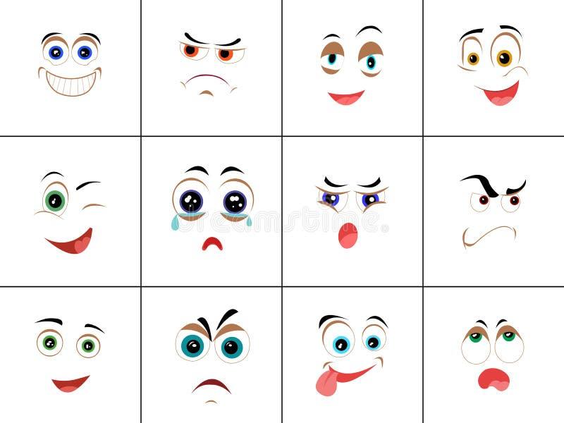 Ensemble de smiley avec l'expression des émotions illustration libre de droits