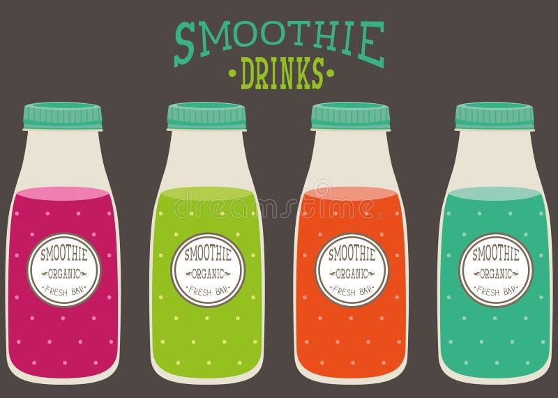 ensemble de smoothie dans des bouteilles en plastique avec la couverture photos stock