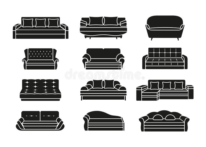Ensemble de sofa d'icône de silhouette Collection de meubles pour les int?rieurs ? la maison Illustration de vecteur illustration libre de droits