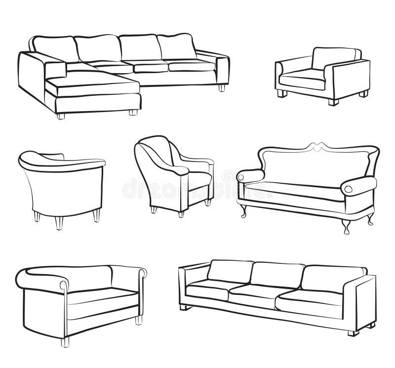 Ensemble de sofa et de fauteuil de meubles Collection d'ensemble de conception intérieure illustration libre de droits