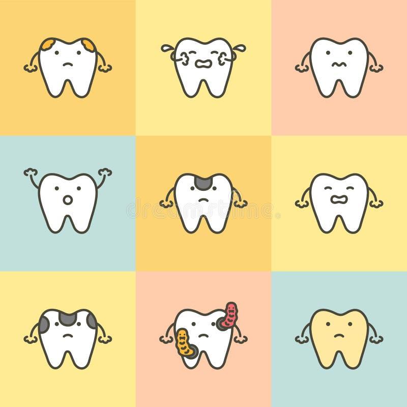 Ensemble de soins dentaires, élément pour le concept de dent illustration libre de droits