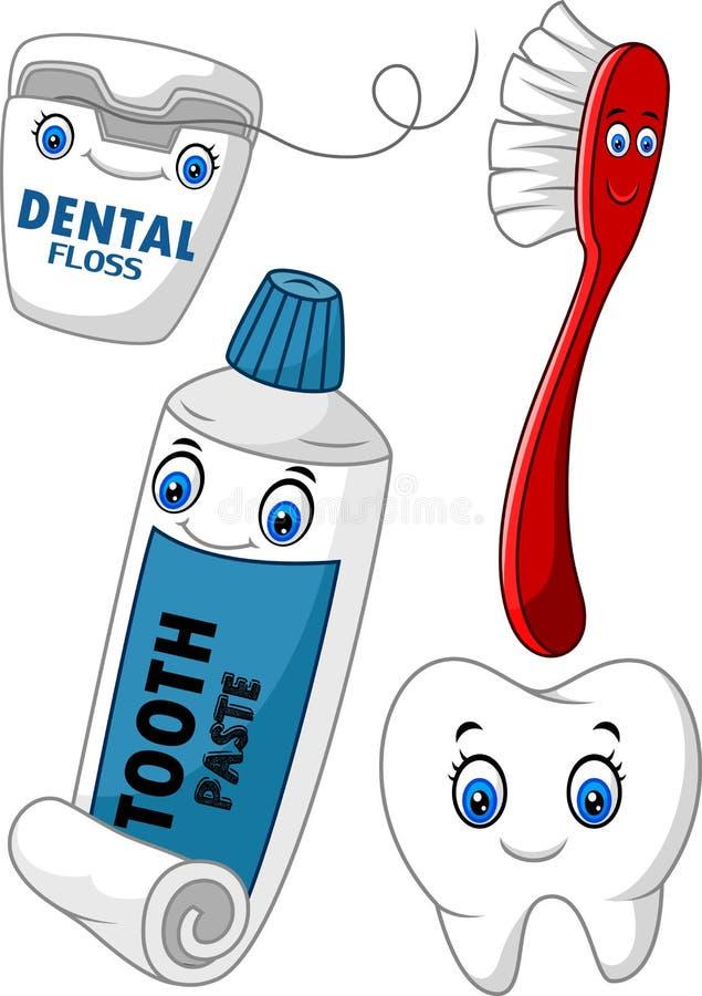Ensemble de soins dentaires de bande dessinée illustration de vecteur
