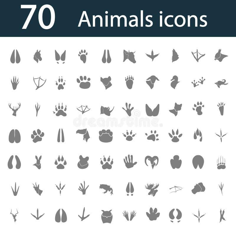 Ensemble de soixante-dix icônes simples d'animaux illustration de vecteur