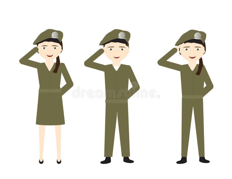 Ensemble de soldats de bande dessinée avec les uniformes verts saluant sur le fond blanc illustration stock