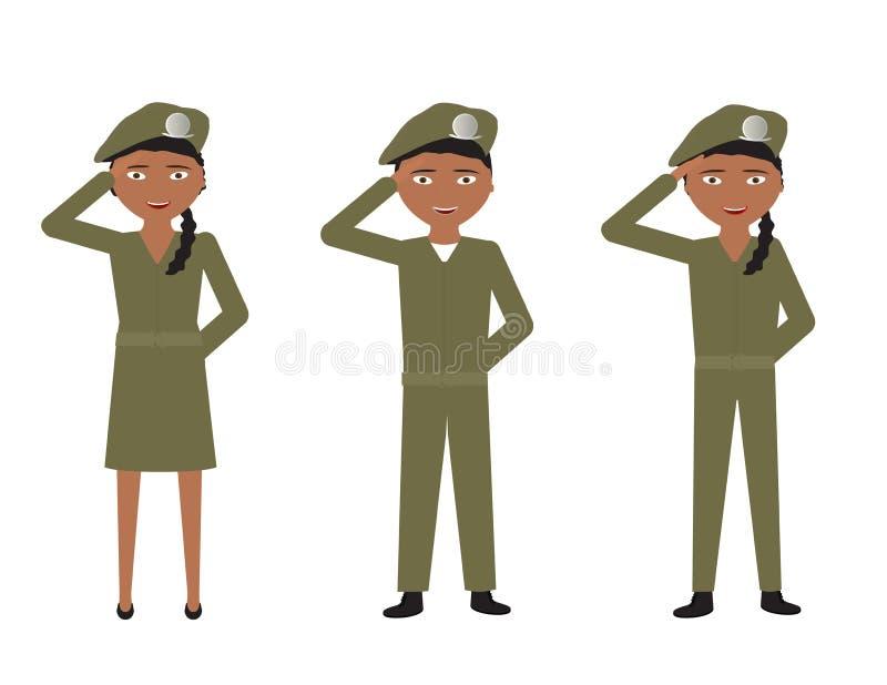 Ensemble de soldats de bande dessinée avec les uniformes verts saluant sur le fond blanc illustration libre de droits