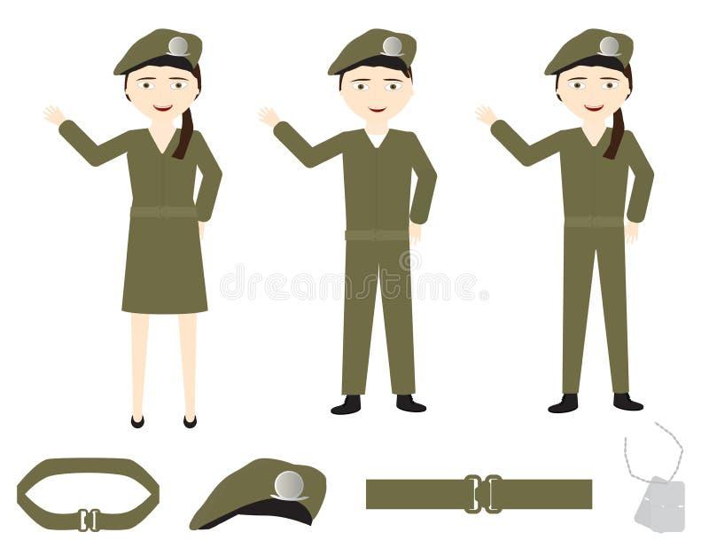 Ensemble de soldats de bande dessinée avec les uniformes verts sur le fond blanc illustration libre de droits