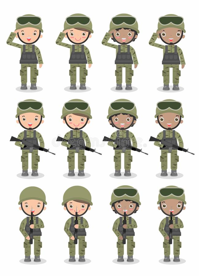 Ensemble de soldats Hommes et femmes conception de personnage de dessin animé plate sur le fond blanc illustration de vecteur