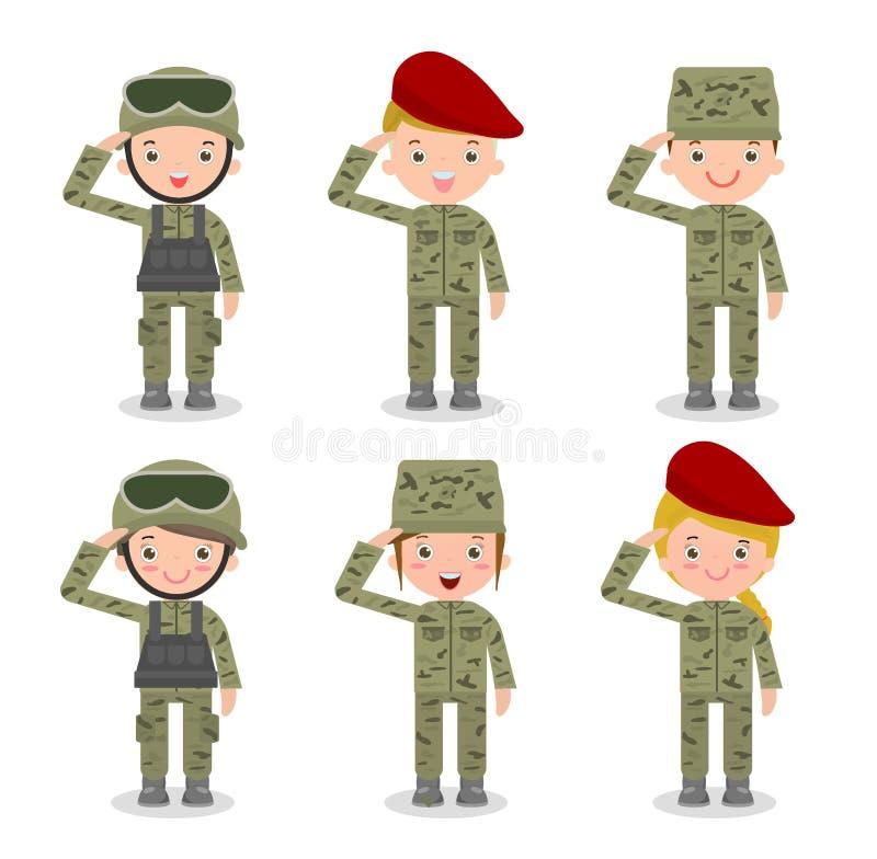 Ensemble de soldats Hommes et femmes conception de personnage de dessin animé plate sur le fond blanc illustration libre de droits