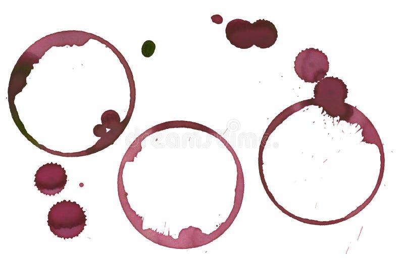 Ensemble de souillures de vin illustration libre de droits
