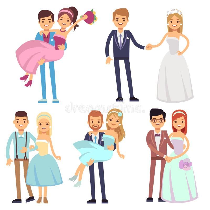Ensemble de sourire heureux de vecteur d'isolement par couples de mariage illustration de vecteur