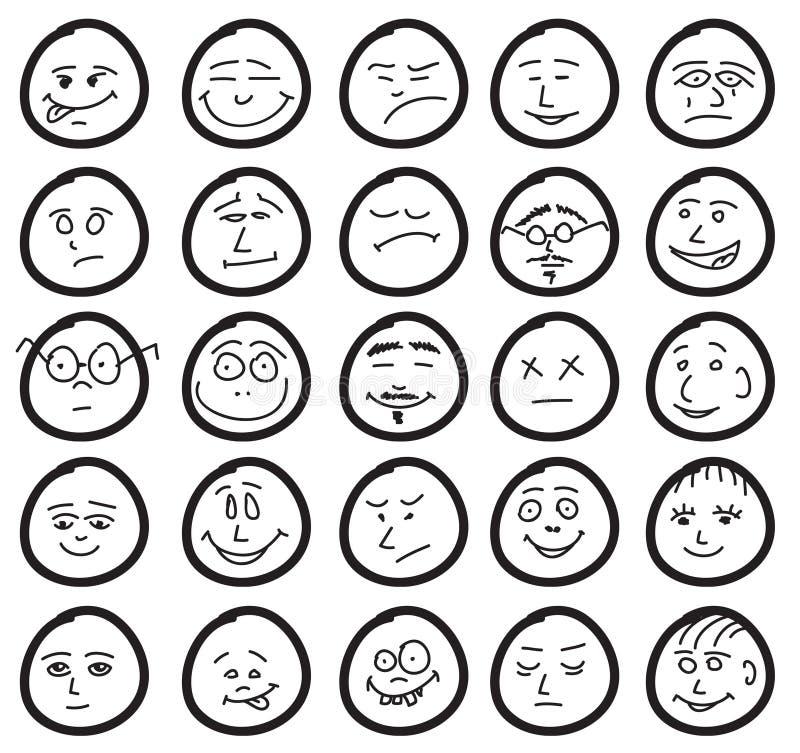 Ensemble de sourires drôles et mignons illustration libre de droits