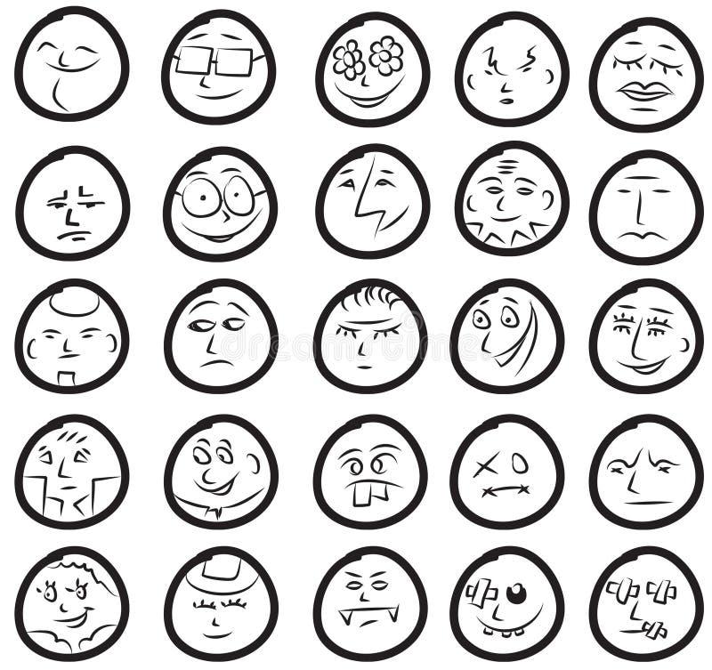 Ensemble de sourires drôles et mignons illustration stock