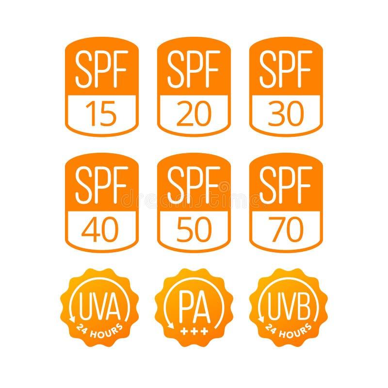 Ensemble de SPF, d'UVA et d'UVB d'icônes pour des cosmétiques Packagin de protection solaire images stock