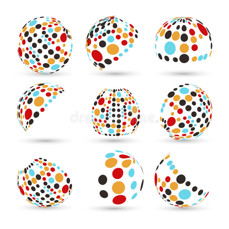 Ensemble de sphères abstraites de vecteur illustration stock