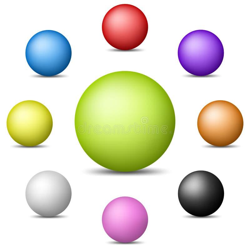 Ensemble de sphères réalistes colorées d'isolement sur le fond blanc Sphères brillantes brillantes Illustration de vecteur pour v illustration stock