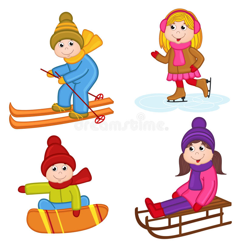 Ensemble de sports d'hiver d'isolement d'enfants illustration stock