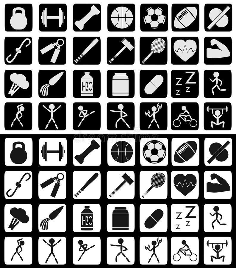 Ensemble de sports et d'icônes relatives de consommation saine dans des couleurs noires et blanches illustration libre de droits