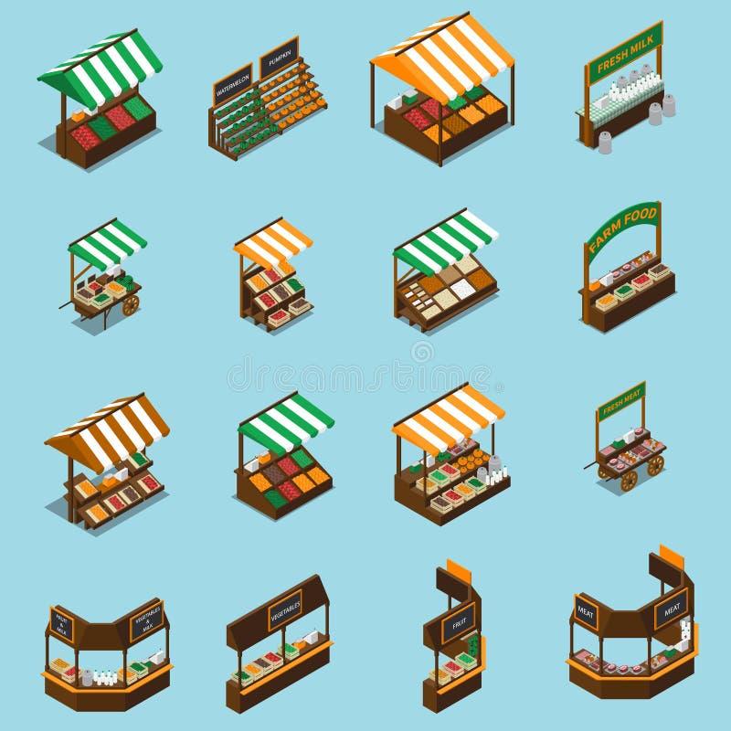 Ensemble de stalle du marché de ferme illustration de vecteur