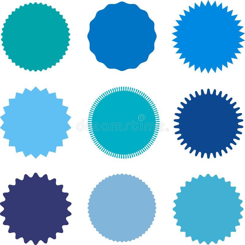 Ensemble de starburst, insignes de rayon de soleil, labels, autocollants Différentes nuances de couleur bleue illustration libre de droits