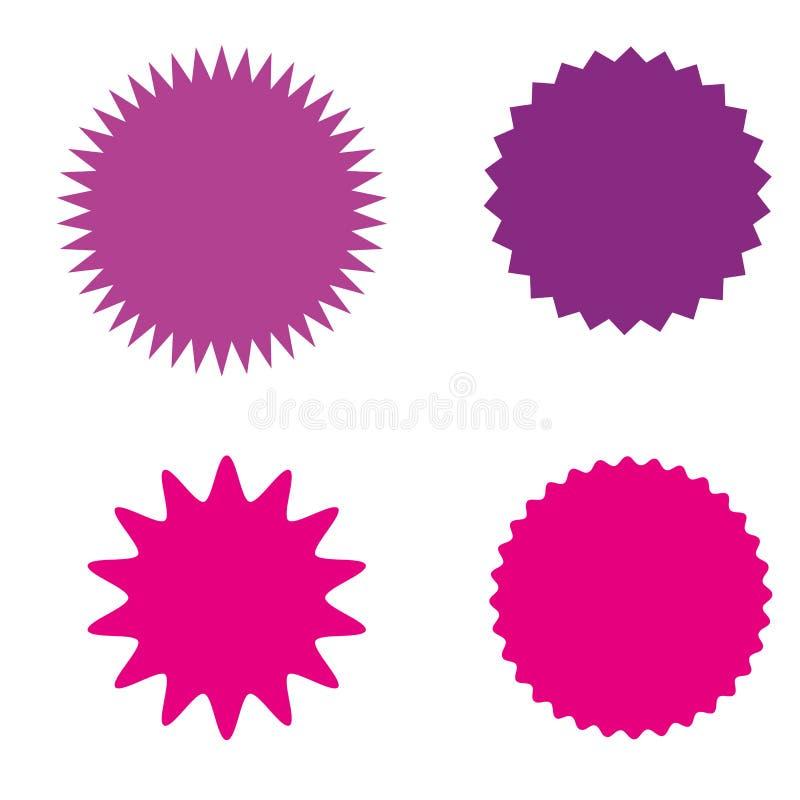 Ensemble de starburst, insignes de rayon de soleil, labels, autocollants Différentes nuances de couleur rose, violette, pourpre illustration libre de droits