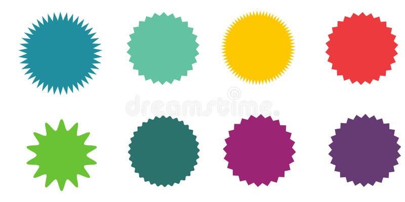 Ensemble de starburst de vecteur, insignes de rayon de soleil Étiquettes de cru Collants colorés Une collection de types et d'icô illustration libre de droits