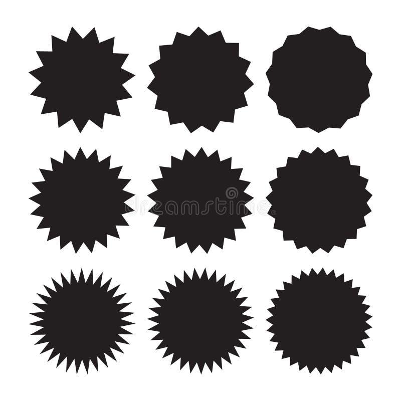 Ensemble de starburst de vecteur, insignes de rayon de soleil Icônes noires sur le fond blanc Labels plats simples de vintage de  illustration libre de droits
