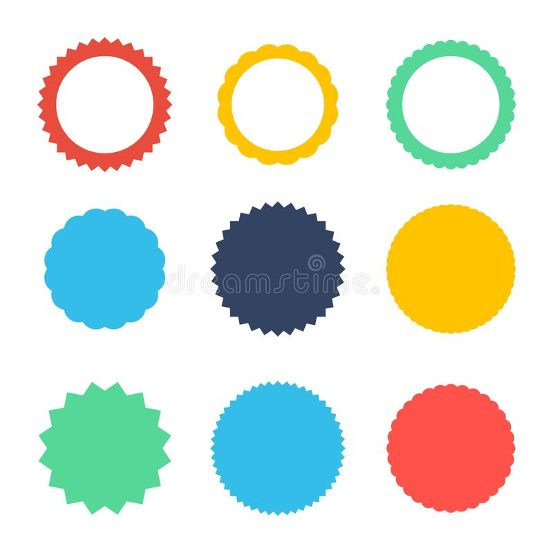 Ensemble de starburst de vecteur, insignes de rayon de soleil Icônes sur le fond blanc Labels plats simples de vintage de style,  illustration de vecteur