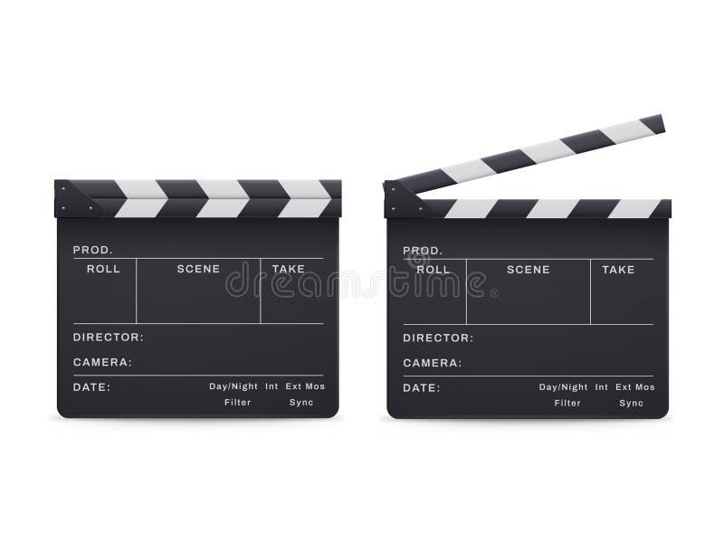 Ensemble de style de claquette, film et industrie réalistes de cinéma illustration de vecteur
